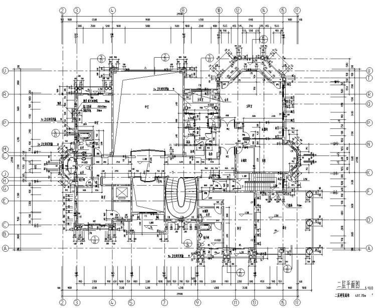 深圳高端别墅结构施工图D型CAD含建筑水暖电-建筑平面图