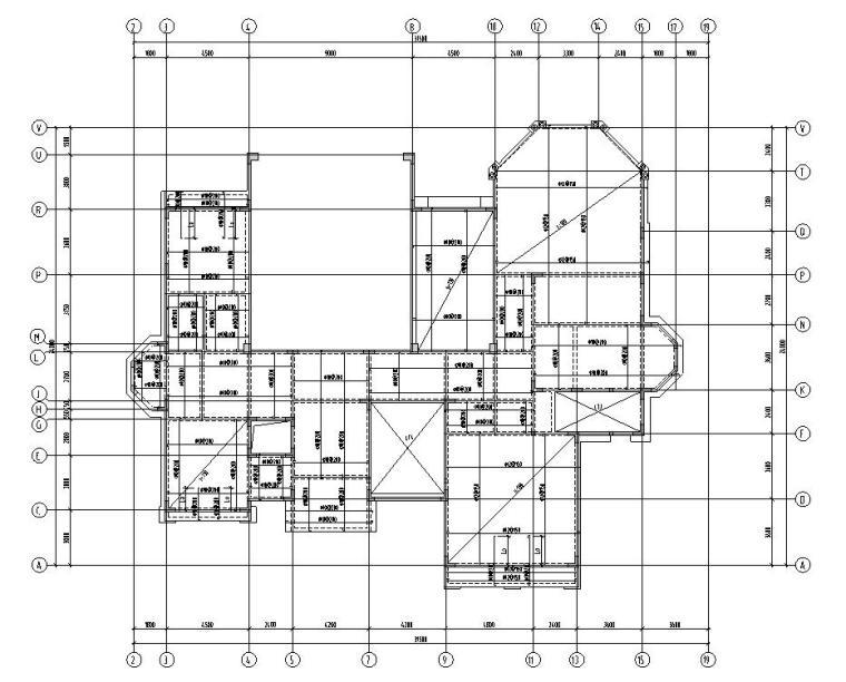 深圳高端别墅结构施工图D型CAD含建筑水暖电-结构平面图