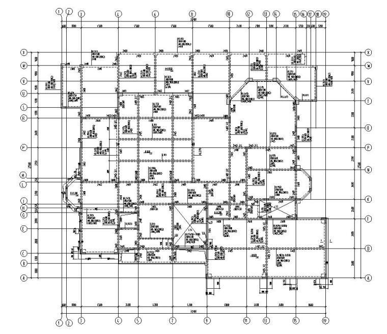 深圳高端别墅结构施工图D型CAD含建筑水暖电-结构配筋图