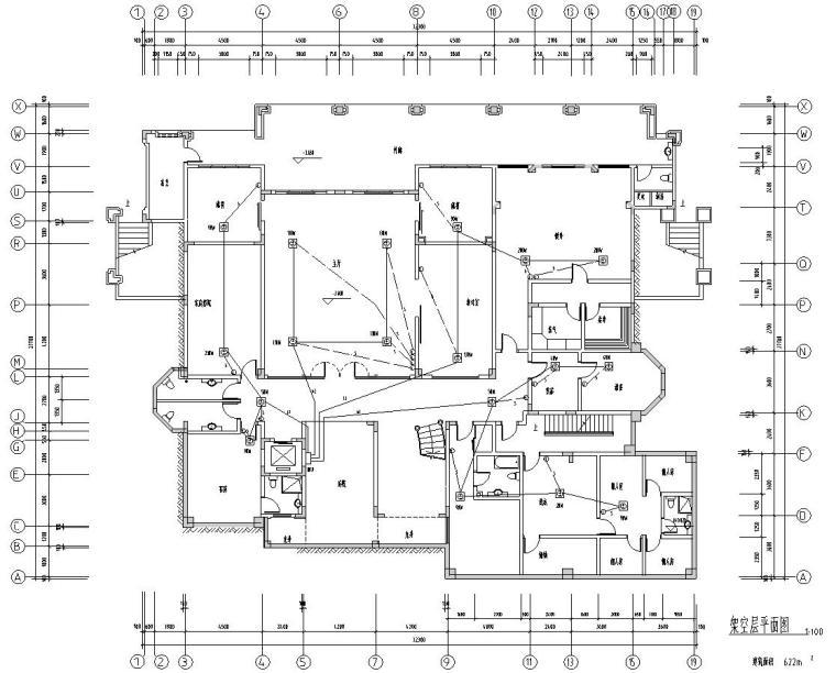 深圳高端别墅结构施工图D型CAD含建筑水暖电-电气布置图