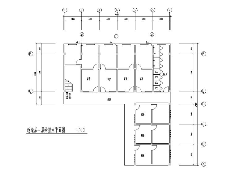 学生食堂改造及附属设施工程预算书2017-改造后一层给排水平面图