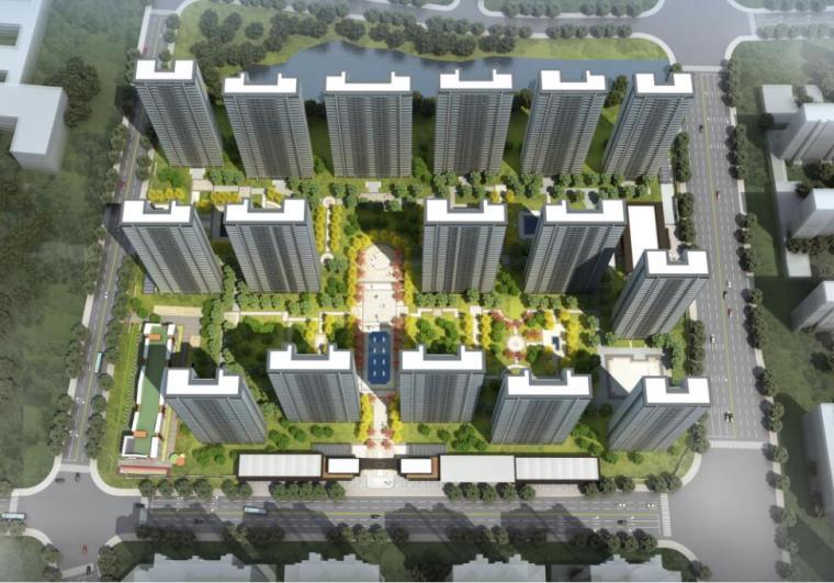 [浙江]端庄典雅+高层中央公园住宅建筑方案-01 鸟瞰图