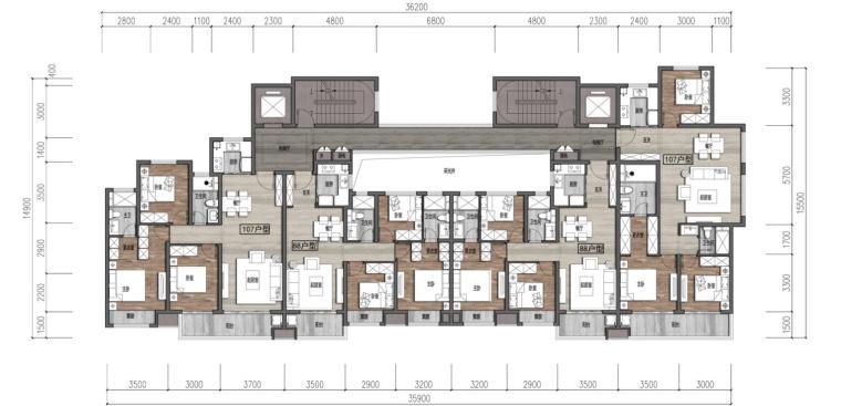 [浙江]端庄典雅+高层中央公园住宅建筑方案-107㎡+88㎡+88㎡+107㎡