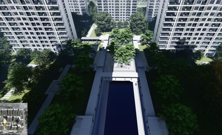 [浙江]端庄典雅+高层中央公园住宅建筑方案-鸟瞰图