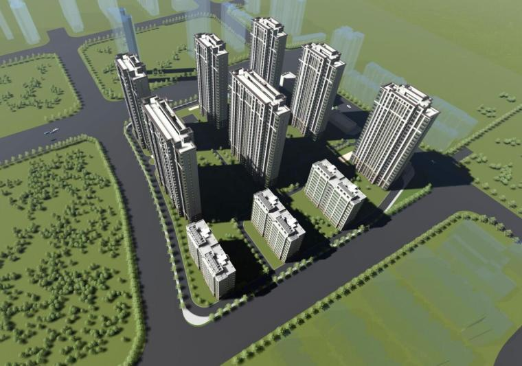 [江苏]南京新古典风高层住宅规划设计-01 鸟瞰图