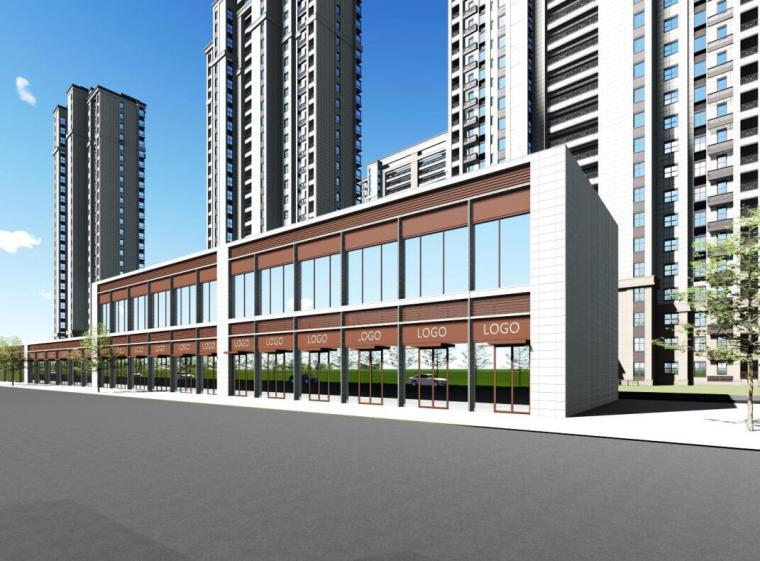 [江苏]南京新古典风高层住宅规划设计-沿街商业效果图