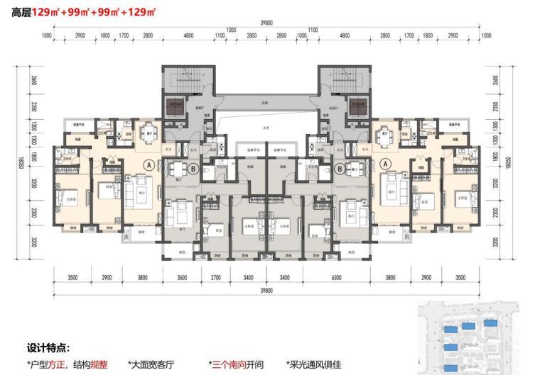 [江苏]南京新古典风高层住宅规划设计-高层129㎡+99㎡+99㎡+129㎡