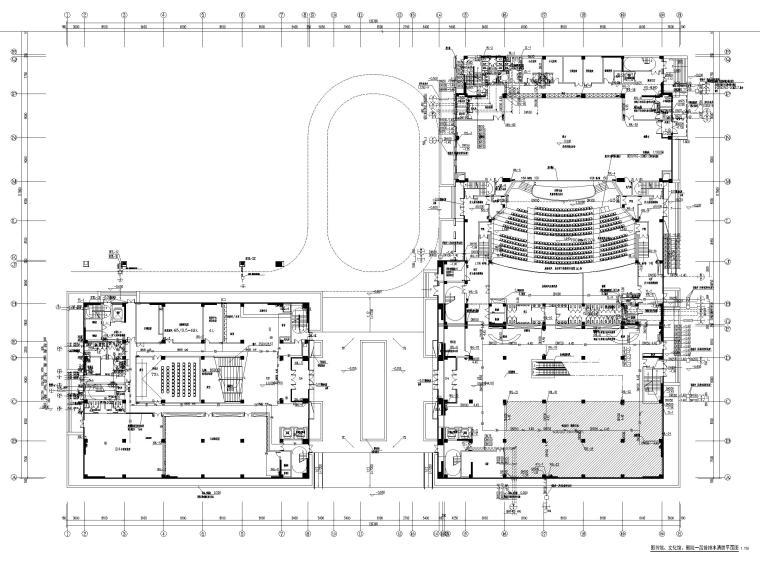 济南档案_博物馆给排水喷淋系统设计图2019-图书馆、文化馆、剧院一层给排水消防平面图