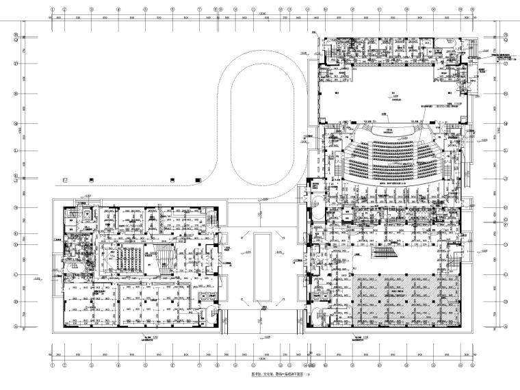 济南档案_博物馆给排水喷淋系统设计图2019-图书馆、文化馆、剧场一层喷淋平面图