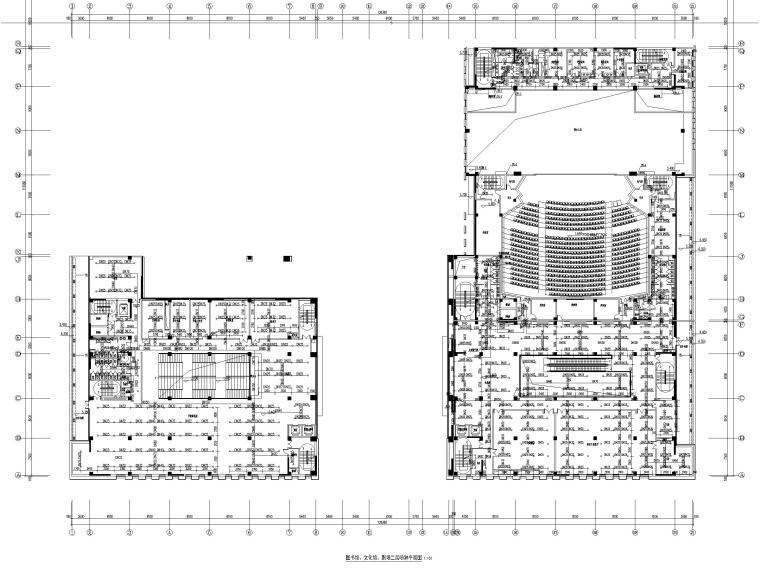 济南档案_博物馆给排水喷淋系统设计图2019-图书馆、文化馆、剧场二层喷淋平面图