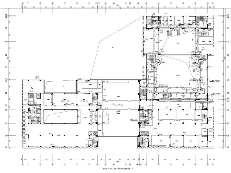 济南档案_博物馆给排水喷淋系统设计图2019-图书馆、文化馆、剧院三层给排水消防平面图