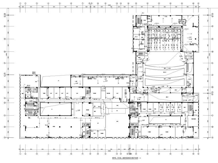 济南档案_博物馆给排水喷淋系统设计图2019-图书馆、文化馆、剧院四层给排水消防平面图