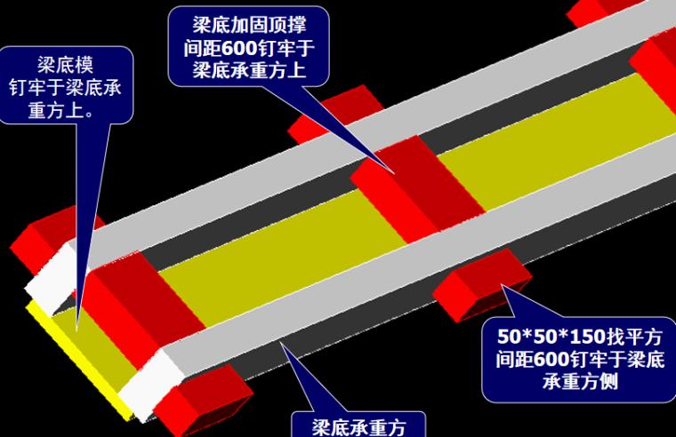 建筑工程模板施工工艺培训讲义PPT-09 梁底模仰视图
