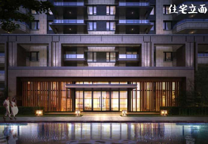 知名地产新中式滨水商业街社区概念方案2019-住宅入口