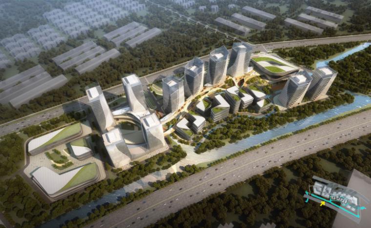 江苏互联科技生态多功能产业园设计-鸟瞰图