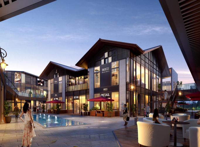 知名地产新中式滨水商业街社区概念方案2019-效果图1
