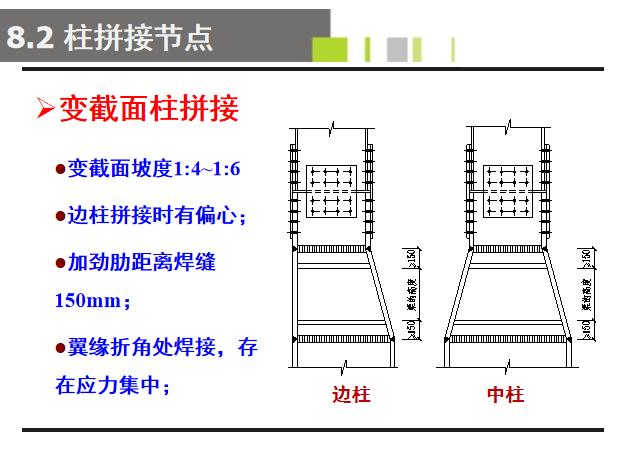 多层钢框架结构设计PPT(176页)-变截面柱拼接