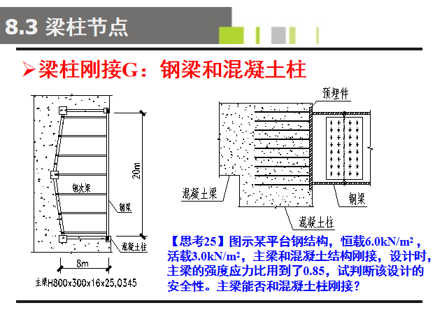 多层钢框架结构设计PPT(176页)-钢梁和混凝土柱