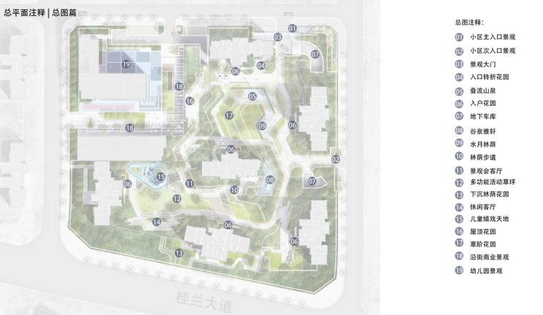 [重庆]现代奢雅山水住宅景观方案设计文本-总平面注释