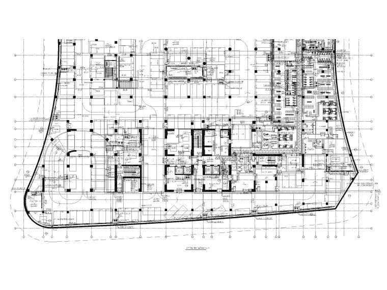 [广东]高层酒店地下部分给排水施工图-地库二层给排水平面图(南区)