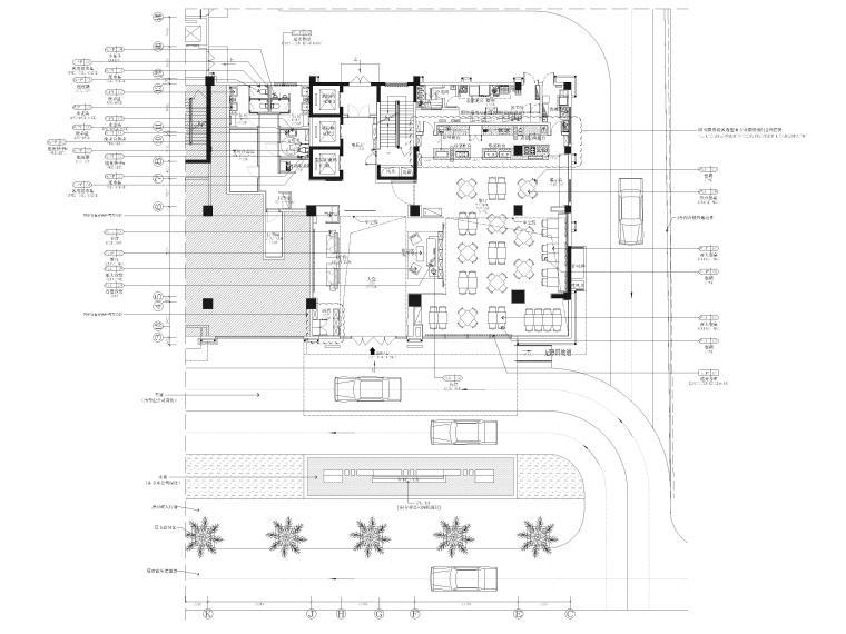 [广西]南宁万枫酒店室内装修设计施工图-一层公区平面布置图