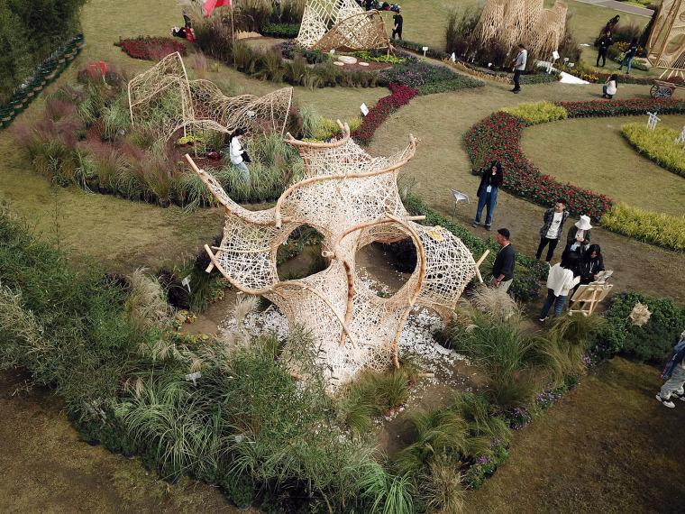 成都第三届北林国际花园建造节竹构装置实景图