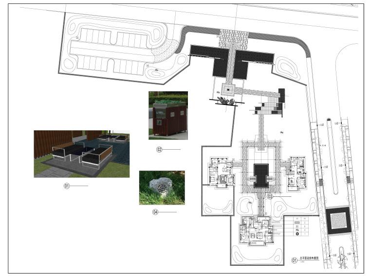 江苏新中式人居环境示范区景观CAD施工图-总平面设施布置图