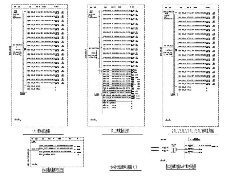 五层学生宿舍楼电气施工图-4配电箱系统图