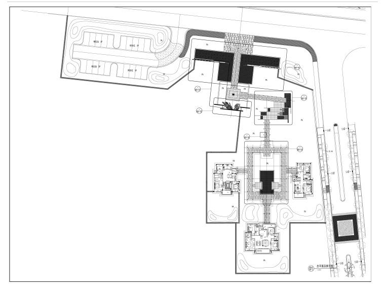 江苏新中式人居环境示范区景观CAD施工图-总平面图
