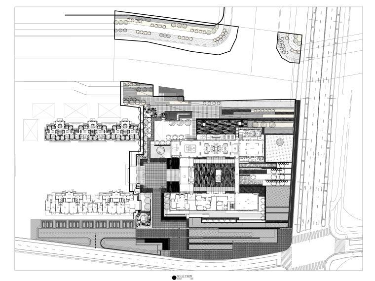 [上海]新中式人居示范区景观CAD施工图+SU-总平面绿化