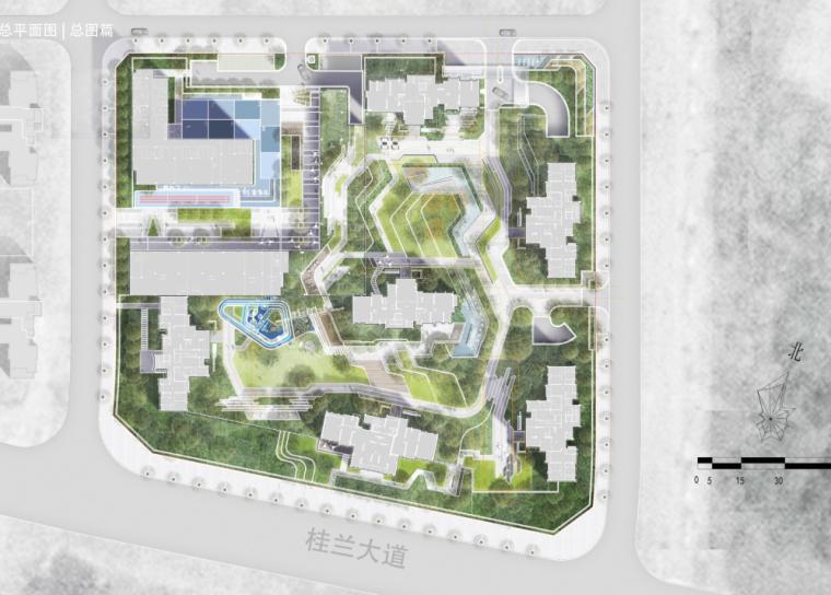 [重庆]现代奢雅山水住宅景观方案设计文本-总图篇1