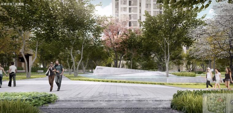 [重庆]现代奢雅山水住宅景观方案设计文本-中央水院效果图