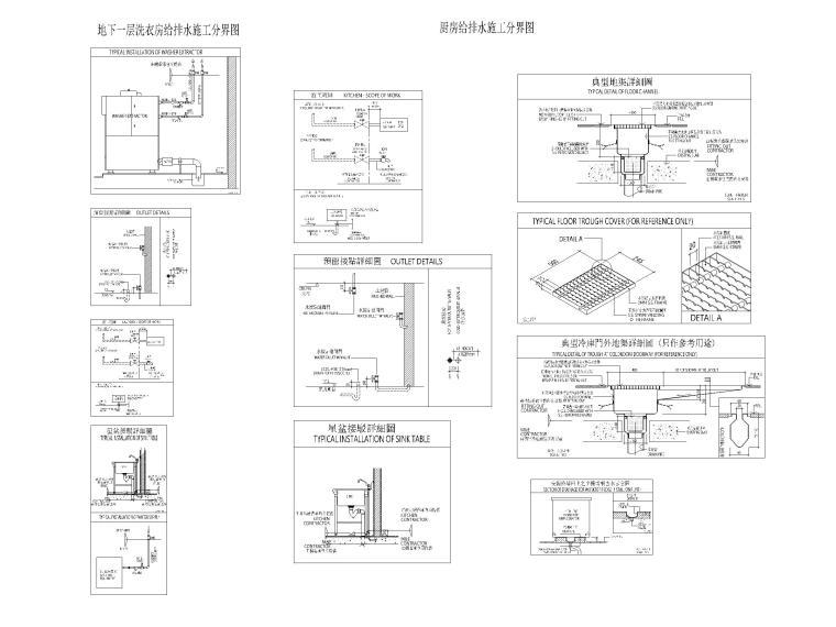 [广东]高层酒店地下部分给排水施工图-厨房给排水施工分界图