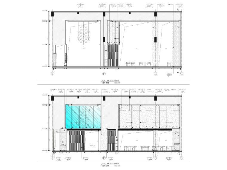 [广西]南宁万枫酒店室内装修设计施工图-公区立面图2