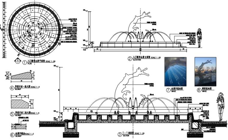 沈阳现代东方中式园林示范区景观CAD施工图-入口圆形水景