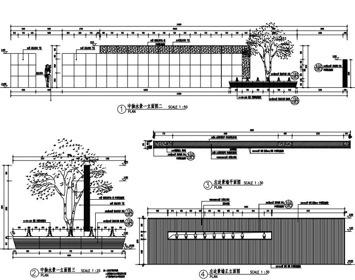 沈阳现代东方中式园林示范区景观CAD施工图-中轴水景详图