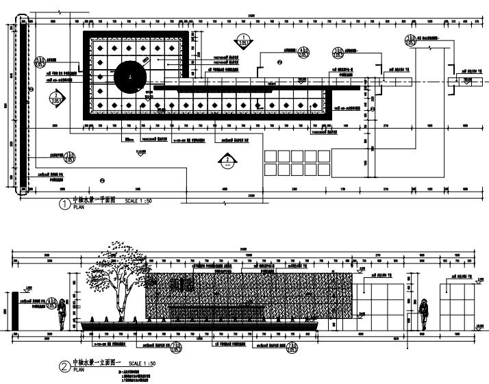沈阳现代东方中式园林示范区景观CAD施工图-中轴水景详图2