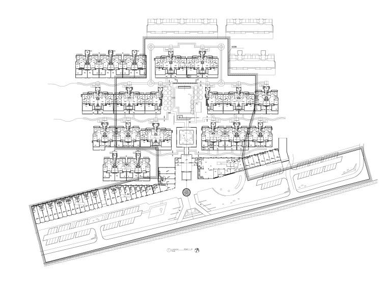 沈阳现代东方中式园林示范区景观CAD施工图-尺寸定位总平面图