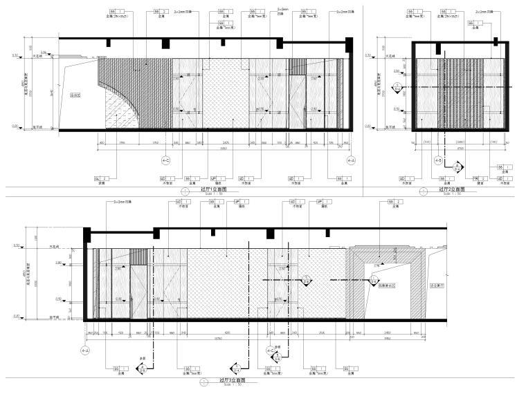 [广州]南沙珠江湾售楼处室内装修设计施工图-过厅立面图