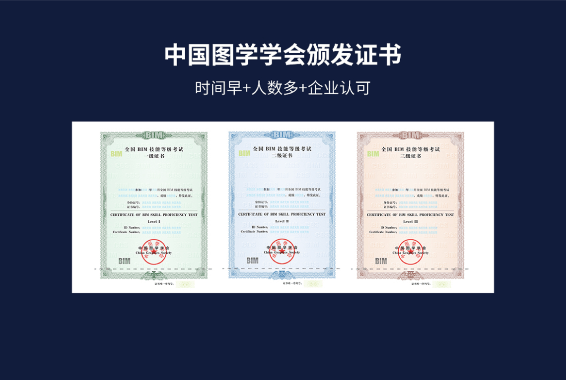 中国图学学会全国BIM技能等级考试证书模板。