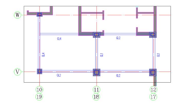 24层综合楼钢结构工程施工组织设计-08 劲性梁柱平面布置图