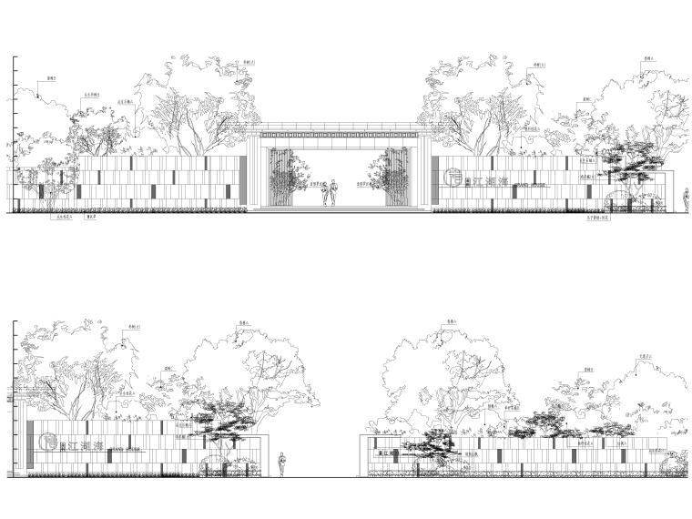 [昆明]临湖新中式示范区景观CAD施工图+SU-示范区绿化施工立面