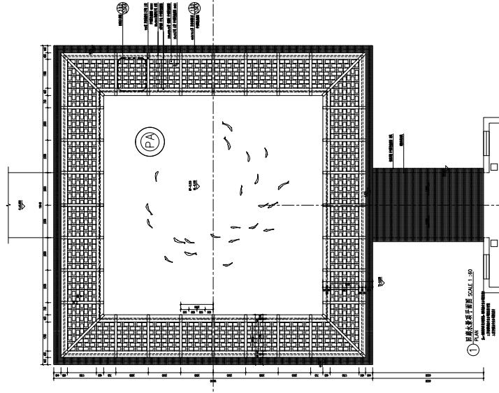 沈阳现代东方中式园林示范区景观CAD施工图-回廊水景详图