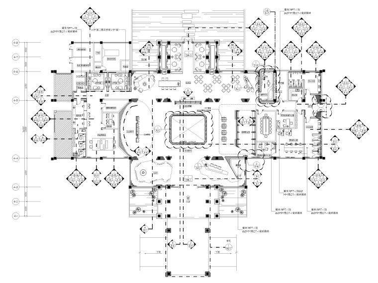 [广州]南沙珠江湾售楼处室内装修设计施工图-平面布置,立面索引图