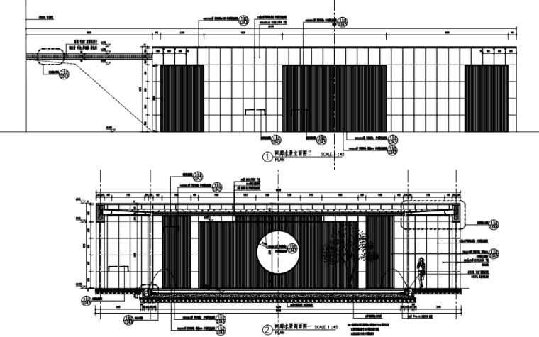 沈阳现代东方中式园林示范区景观CAD施工图-回廊水景详图二