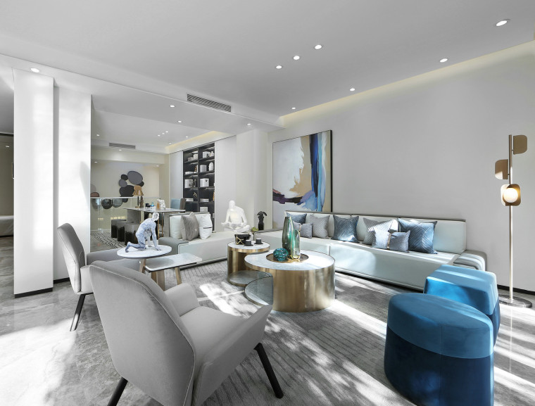 [北京]390㎡二层三居联排别墅施工图+3D模型-4客厅2