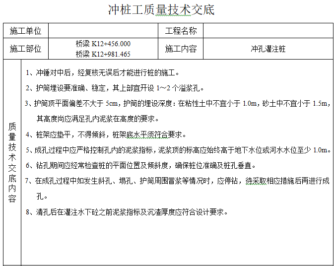 [广州]道路工程质量技术交底-冲桩工质量技术交底