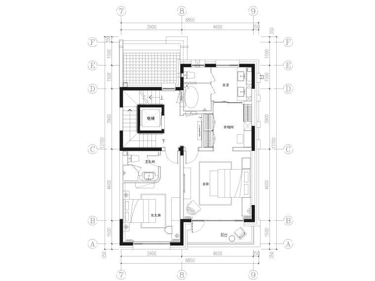 [北京]390㎡二层三居联排别墅施工图+3D模型-二层平面布置图