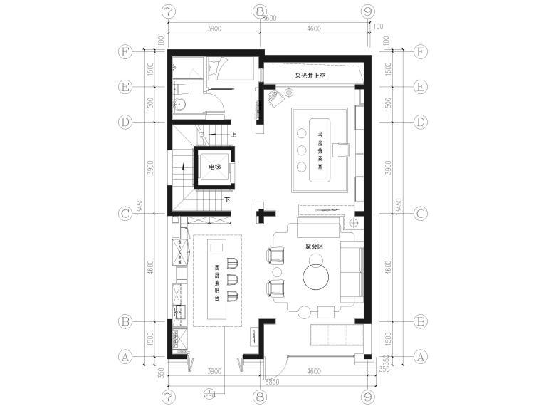 [北京]390㎡二层三居联排别墅施工图+3D模型-负一层平面布置图