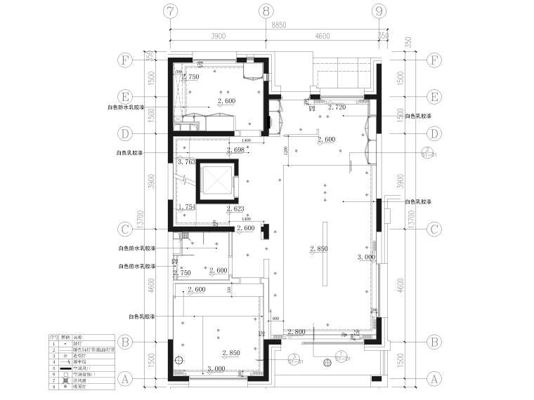 [北京]390㎡二层三居联排别墅施工图+3D模型-一层天花布置图